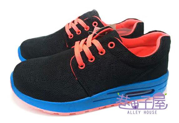 【巷子屋】Limitless利米堤司 女款網布氣墊運動慢跑鞋 [1053] 黑藍 MIT台灣製造 超值價$298