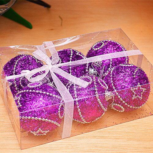 ~X mas聖誕特輯2014~6入裝飾特殊 鍍金球~75mm 雪花紫 BT~5298 ~