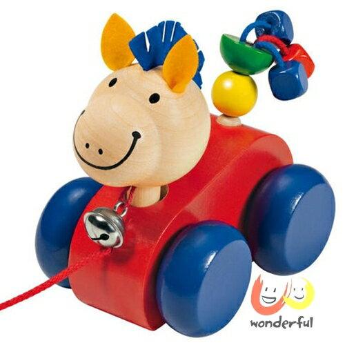 ~Selecta 木製遊戲玩具~點頭小馬學步拉拉車 BCST0043