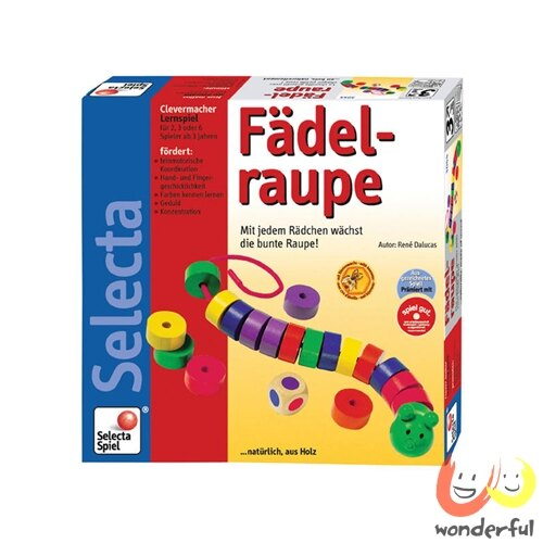 ~Selecta 木製遊戲玩具~彩色毛蟲串繩遊戲 BCST3501 ~  好康折扣
