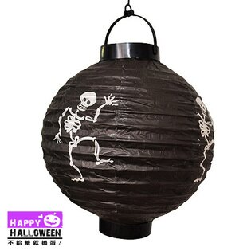 【派對服裝-紫標】吊飾-紙燈籠 (黑-骷髏)( 派對服裝系列滿額599元加送南瓜糖袋1個 )