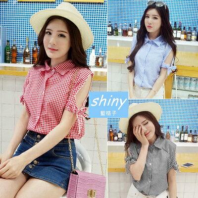 【V1020】shiny藍格子-輕甜美風.清新格子翻領蝴蝶結短袖襯衫