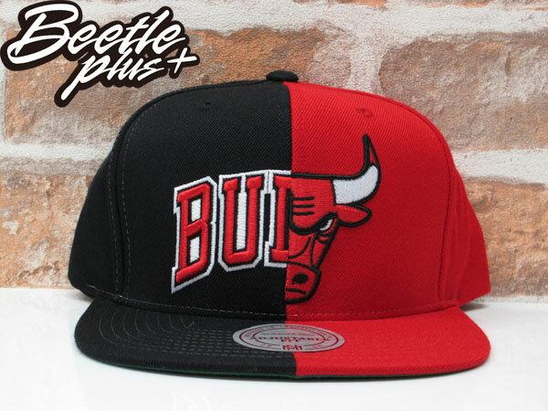 BEETLE MITCHELL&NESS NBA BULLS 芝加哥 公牛 黑紅 雙色 半剖 SNAPBACK 後扣帽 0
