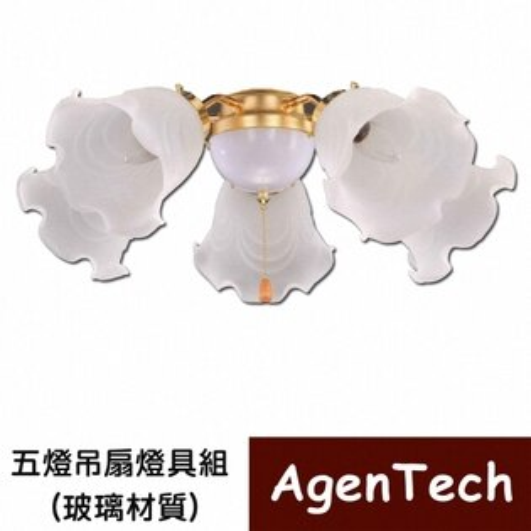 AgenTech 五燈吊扇燈具組(玻璃材質)