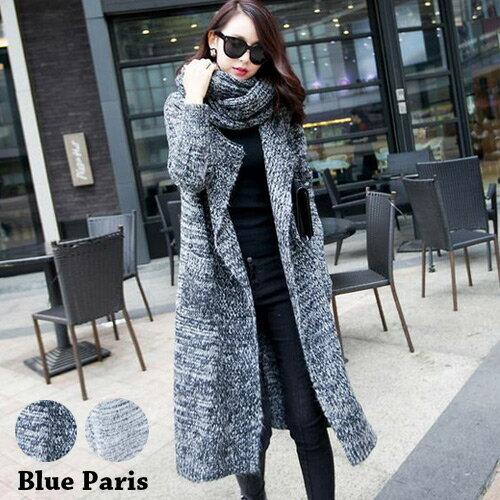 外套 - 圍巾造型開襟針織大衣外套【29213】藍色巴黎《2色》現貨 + 預購 0