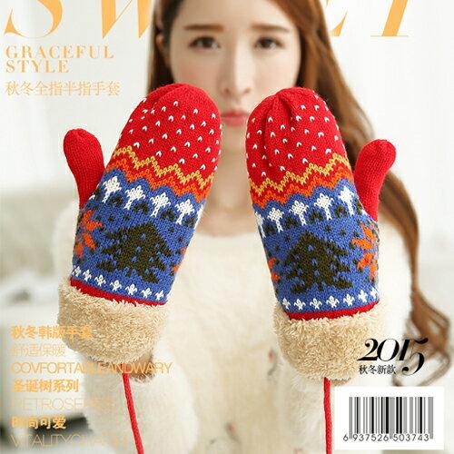 手套   保暖手套  針織手套  毛線手套   耶誕配色手套【C1059】 艾咪E舖   情侶配件 0
