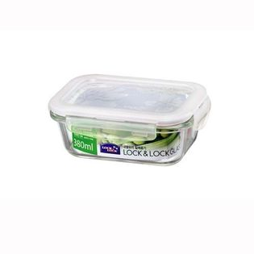 樂扣樂扣微波烤箱玻璃保鮮盒/便當盒長方型380ml-LLG422-大廚師百貨