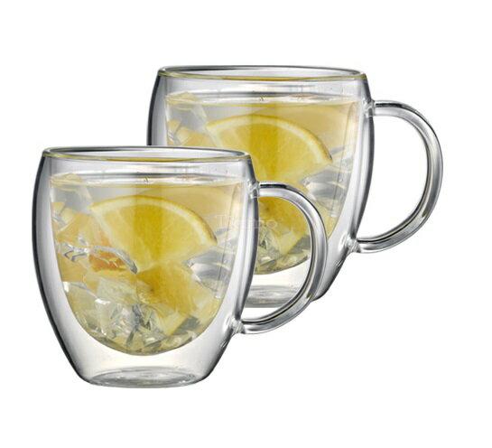 Tiamo玻璃杯雙層隔熱咖啡杯275cc/2入附把手HG2340-大廚師百貨