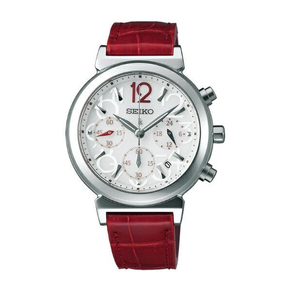Seiko Lukia V175-0AJ0J(SSC885J1)復古豔紅太陽能計時腕錶/白面35mm