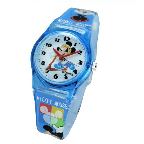 Disney滑板車米奇圖案藍色膠帶卡通錶