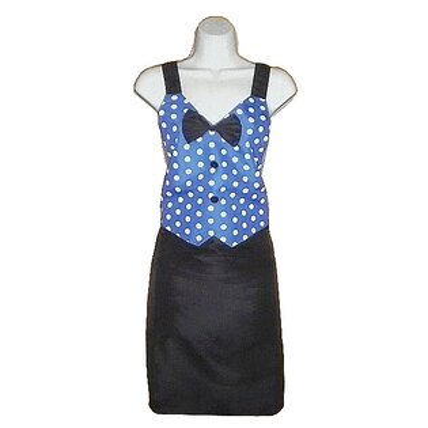 大圓點領結口袋圍裙GS549 -藍