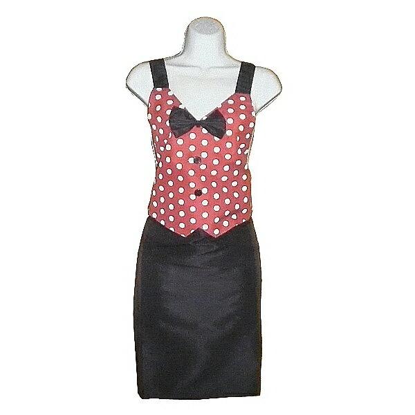 大圓點領結口袋圍裙GS549 -紅