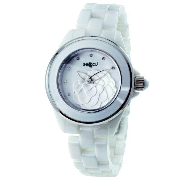 GECCU山茶花雕刻陶瓷腕錶GU8805-白