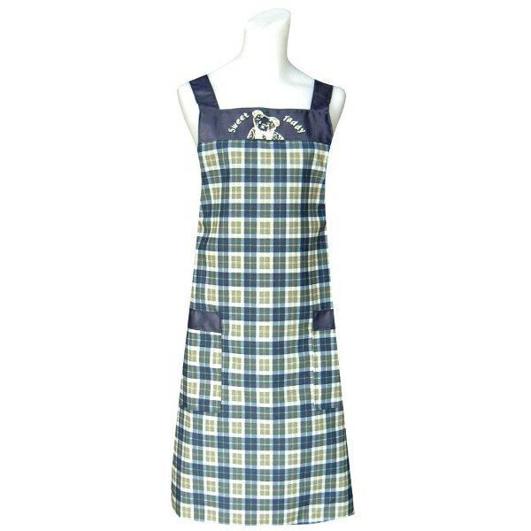 甜蜜熊兩口袋圍裙C558藍