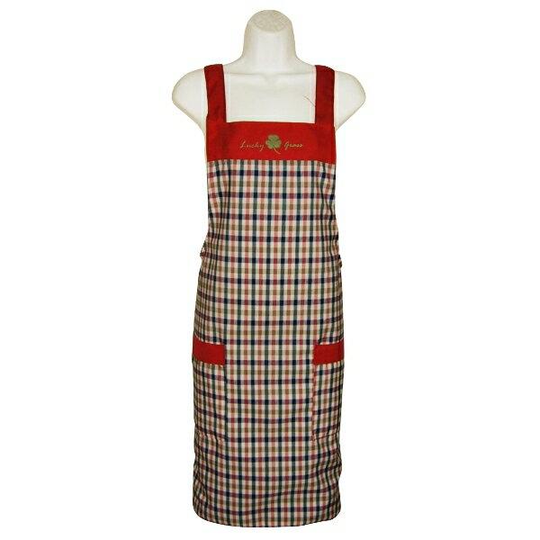 幸運草格子兩口袋圍裙GS505-紅