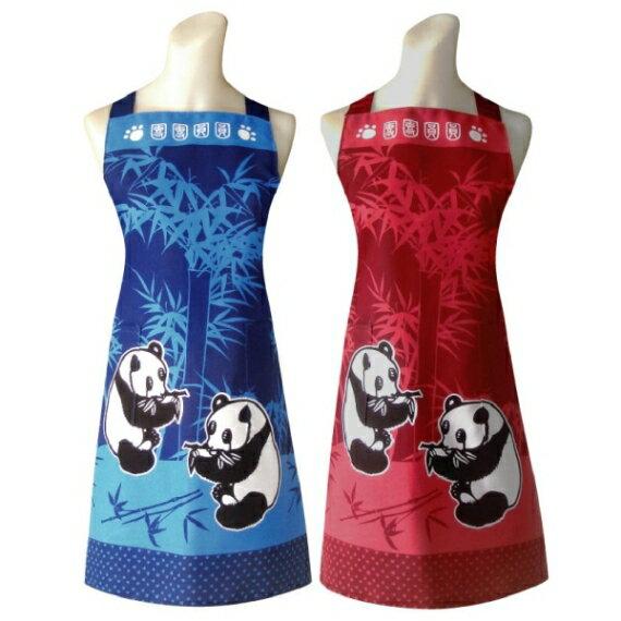 熊貓兩口袋圍裙(藍/紅)任選1入C571