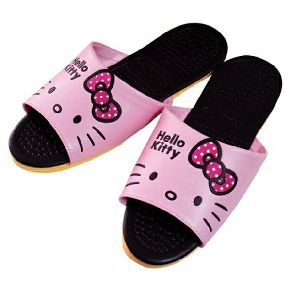 Hello Kitty頭形室內皮拖KT0428B-粉紅色M25號