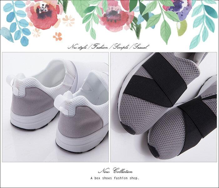 格子舖*【KT3544】MIT台灣製 透氣網布拼接布面 簡單流行繃帶 布面鞋 休閒鞋 懶人鞋 3色 2