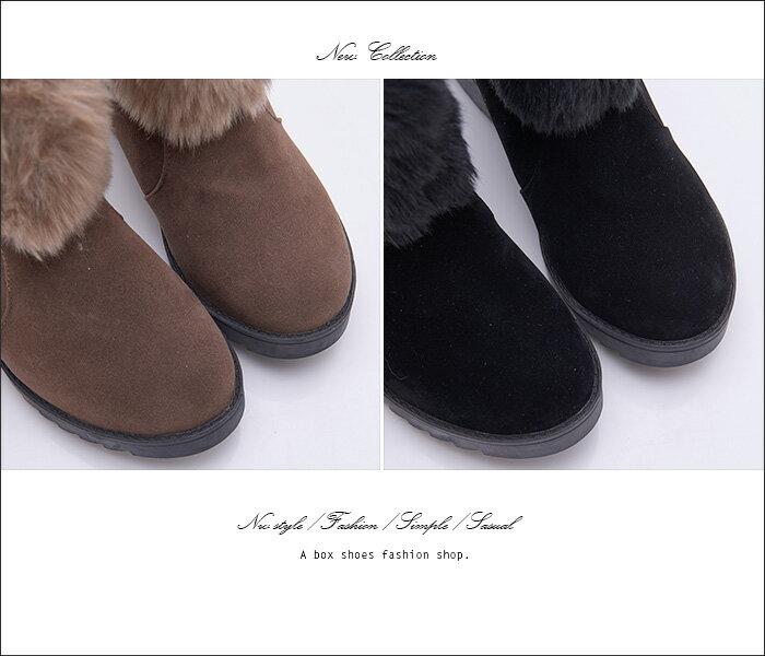 格子舖*【KSB637】韓版流行質感麂皮保暖絨毛造型 金屬釦環 7.5CM內增高厚底增高短靴 2色 2
