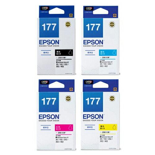 EPSON 原廠墨水 T177 墨水 (四色一組) 適用XP-102/XP-202/XP-302/XP-402/XP-225/XP-422