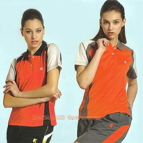 日本名牌Kawasaki女版運動休閒吸濕排汗短POLO衫(KW2221A2-桃紅.KW2221A-橘) 0