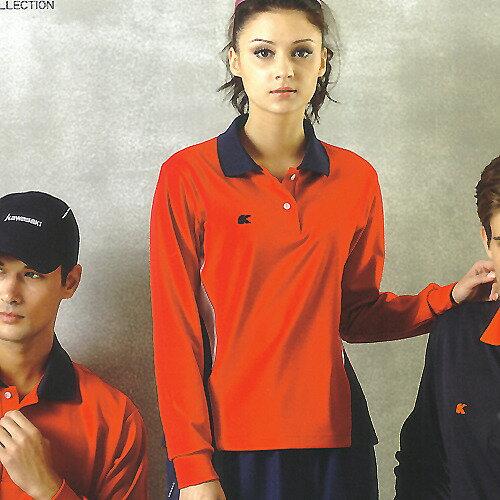 日本名牌 Kawasaki 女版吸濕排汗長POLO衫-紅#KW223A - 限時優惠好康折扣