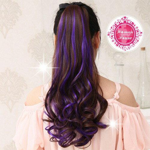 【::綁帶式假髮::】嘉奈兒YL-P014繩子卷馬尾-褐+紫 [41035]