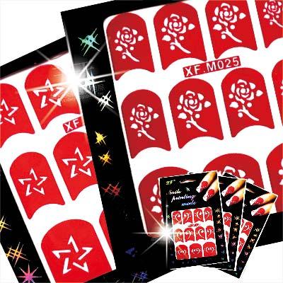 【日本超夯熱門款】XFM指甲彩繪擦指甲油摟空貼紙模-單片(不挑款) [48295]