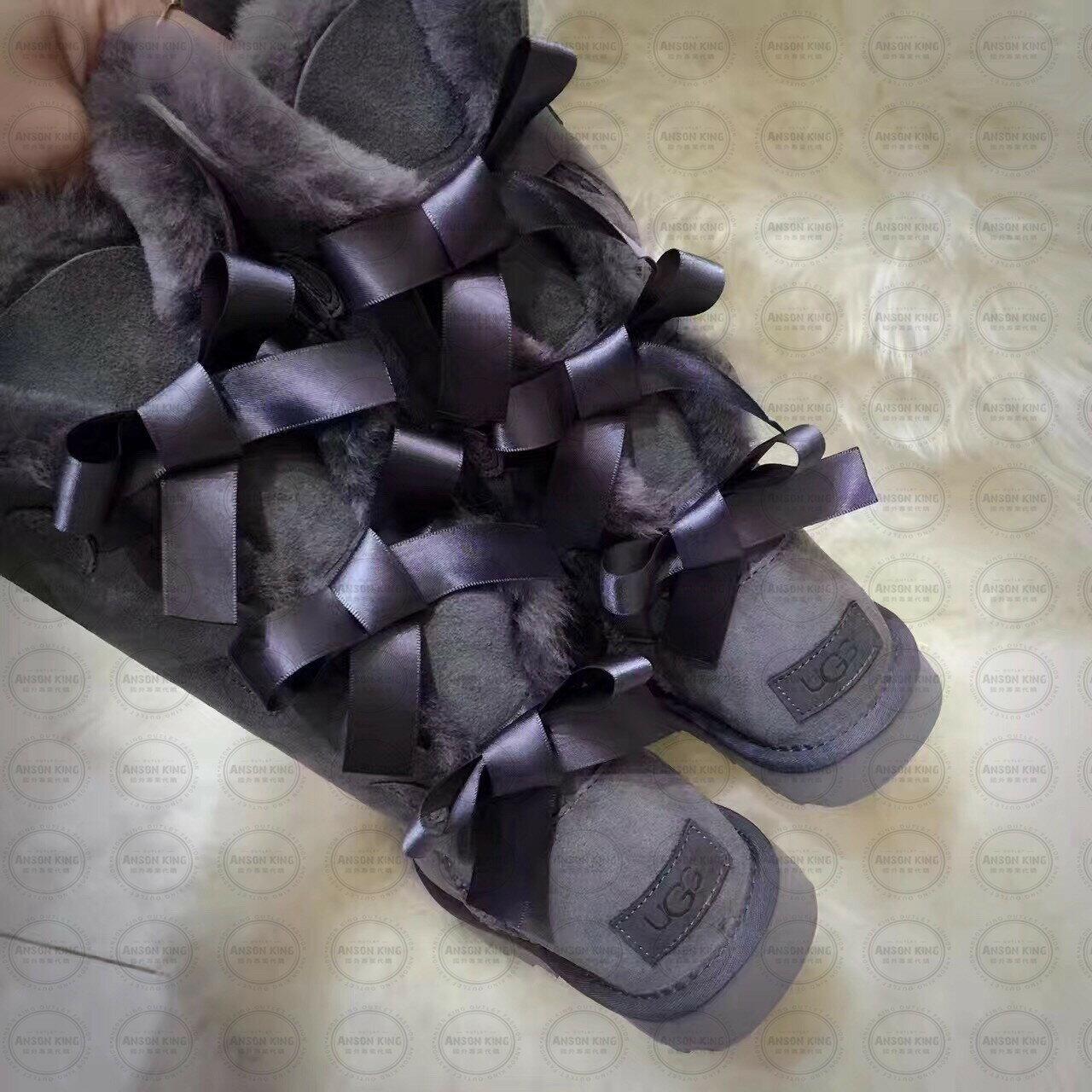 OUTLET正品代購 澳洲 UGG 一體女式絲帶蝴蝶結 保暖 真皮羊皮毛 雪靴 短靴 灰色 4