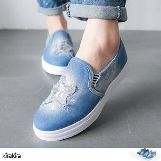 懶人鞋-SALE-kirakira-亮片抽鬚星星刷色帆布平底休閒鞋-版型偏小-2色-現+預【011600087】