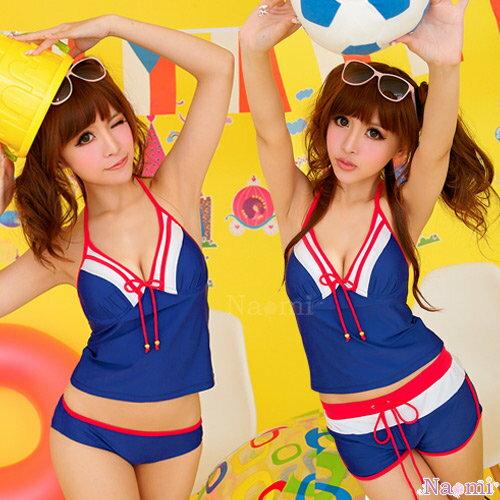 足球尤物!俏麗女孩三件式鋼圈泳裝組NA12070007 ☆艾莉莎☆ 免運