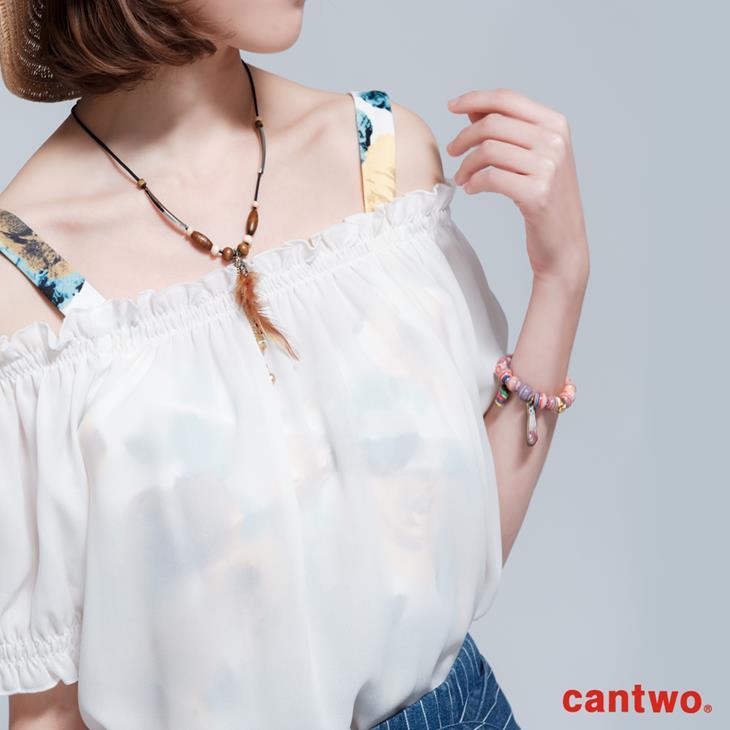 cantwo微透視印花兩件式雪紡上衣(共二色) 4