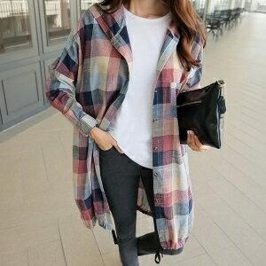 美麗大街~IR3947~甜美寬鬆格紋連帽中長款長袖襯衫