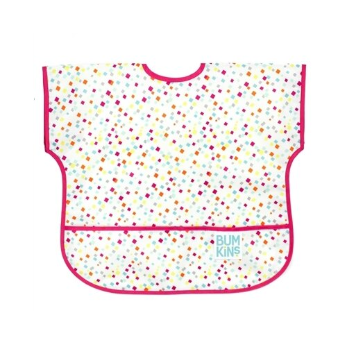美國【Bumkins】兒童短袖防水圍兜 -方格點點 BKU-148 (1-3歲) 0