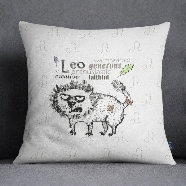 [IHERMI ] 十二星座 / 耗呆貓 - 獅子 (45*45CM ) 愛好蜜  MIT台灣製造好安心 環保染劑使用 極細緻印染技術 0