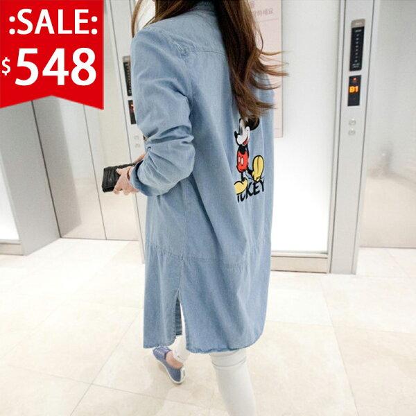 ❤原價1096五折548❤ 米奇長版薄牛仔襯衫外套💎秋天必備長版牛仔外套薄外套【CM504S3AS】