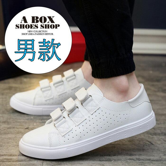 格子舖*【AA8802】男款韓版雜誌穿搭單品 透氣皮革 魔鬼氈沾黏 休閒鞋 板鞋 帆布鞋 黑色/白色 2色 0