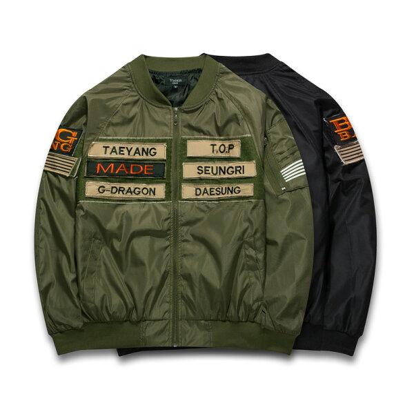 50%OFF【A019096C】BIG BANG MADE同款魔鬼氈刺繡標籤飛行外套棒球外套超厚超保暖
