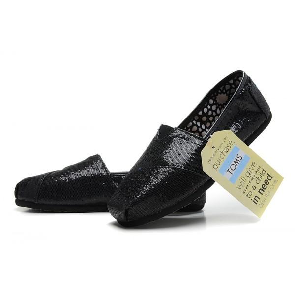 【TOMS】 經典亮片款平底休閒鞋(黑色)  Black Glitter Women's Classics 7