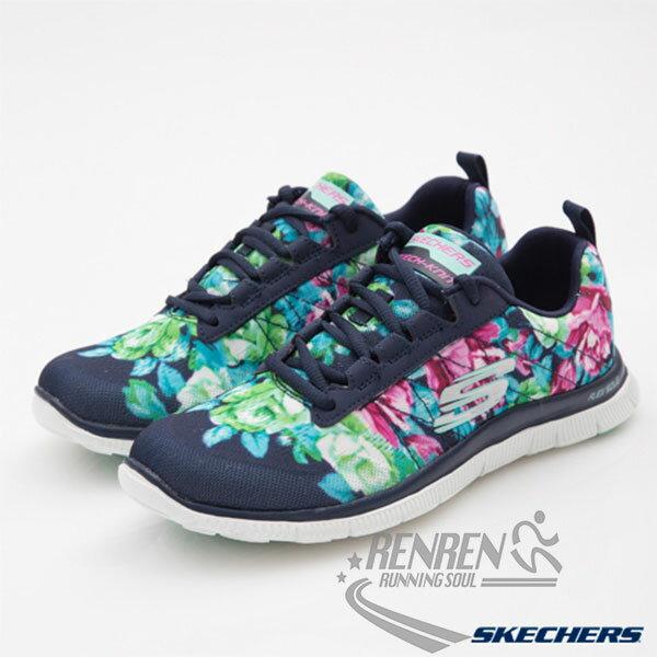 SKECHERS 女 休閒運動鞋FLEX APPEAL (海軍藍*繽紛色) 記憶型泡棉鞋墊 輕量超彈