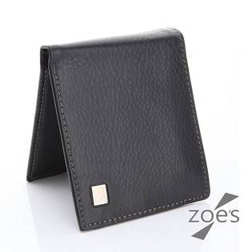 【Zoe's】頂級柔軟小牛皮 多收納 真皮二折短夾(紳士黑)