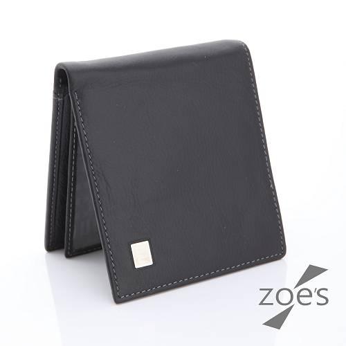 【Zoe's】頂級柔軟小牛皮 荔枝紋 真皮短夾(紳士黑)