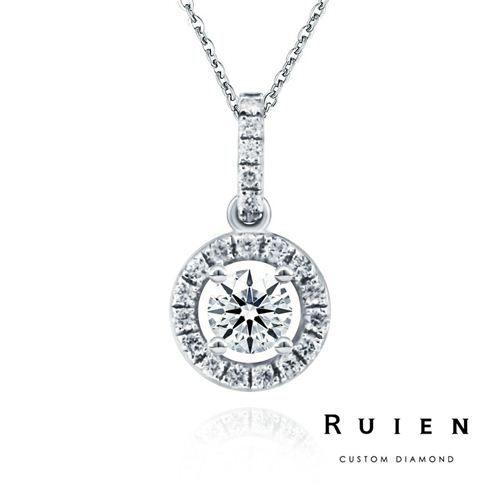 GIA 0.30克拉 E color 3EX H&A 14K白金 推薦款鑽石項鍊 RUIEN 瑞恩珠寶