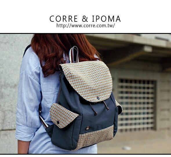 CORRE【CG71071】帆布毛革經典後背包 共四色 紅/藍/橘/咖啡 0