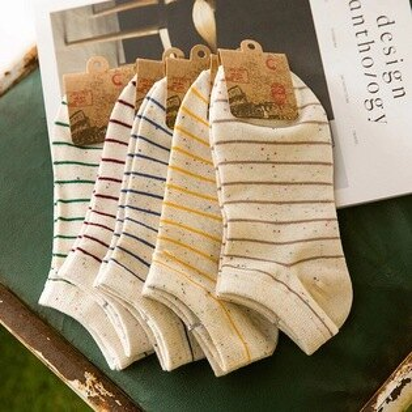 【開幕促銷】韓版夏日繽紛彩點條紋短襪子
