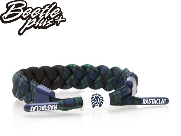 BEETLE PLUS 西門町經銷 全新 美國品牌 RASTACLAT SHOELACE BRACELET 劍橋 藍綠 蘇格蘭紋 秋冬 鞋帶 編織 手環 RA-78 - 限時優惠好康折扣