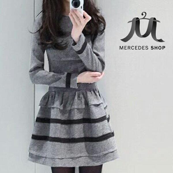 條紋長袖傘擺洋裝(2色)