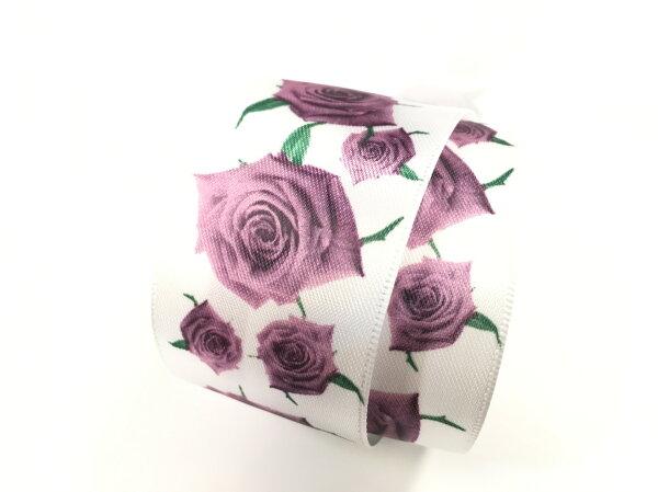 【Crystal Rose緞帶專賣店】玫瑰綠葉雙面緞緞帶 38mm 3碼 (4色)