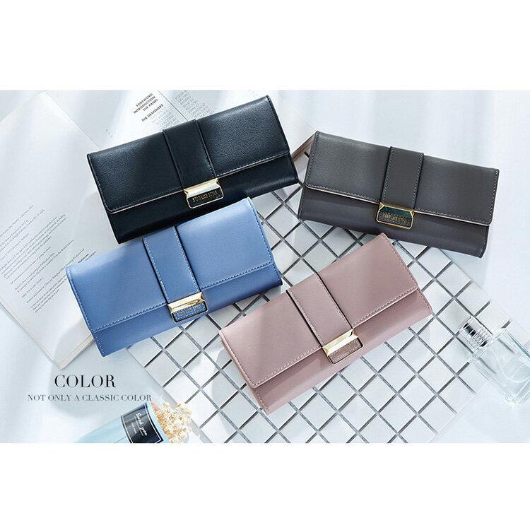 長夾 氣質金屬釦皮夾卡包錢包長夾【WN511-50】 BOBI  12/01 2