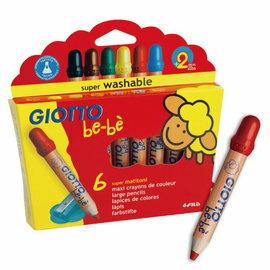 【義大利 GIOTTO】可洗式寶寶木質蠟筆(6色)